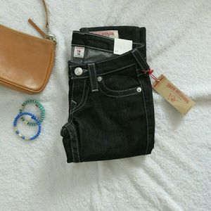 NWT True Religion Skinny Jeans Flap Pocket Blk 24